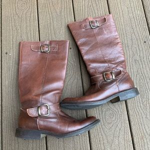 Steve Madden French Brown Leather Buckle Boots 7